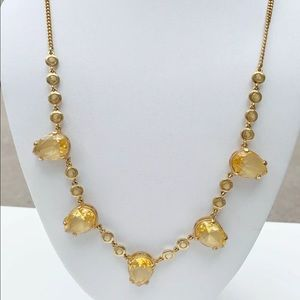 J. Crew Gold Necklace Yellow Amber Crystal